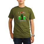 I Love Green Beer Organic Men's T-Shirt (dark)