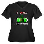 I Love Green Women's Plus Size V-Neck Dark T-Shirt
