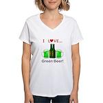 I Love Green Beer Women's V-Neck T-Shirt