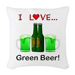 I Love Green Beer Woven Throw Pillow