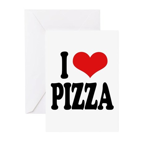 I Love Pizza (word) Greeting Cards (Pk of 10)