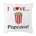 I Love Popcorn Woven Throw Pillow