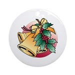 Christmas Bells and Holly Round Porcelain Ornament
