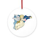 Christmas Art Angel Round Porcelain Ornament