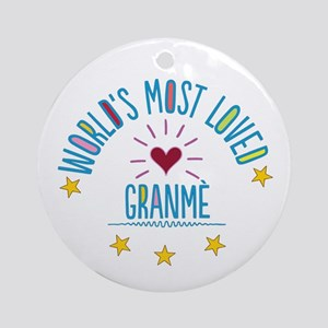 World's Most Loved Granme Ornament (Round)