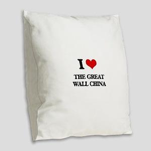 the great wall china Burlap Throw Pillow