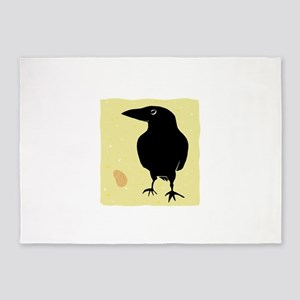 Crow with Peanut 5'x7'Area Rug