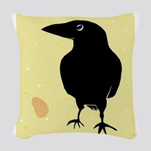 Crow with Peanut Woven Throw Pillow
