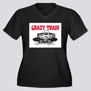 CRAZY TRAIN Women's Plus Size V-Neck Dark T-Shirt