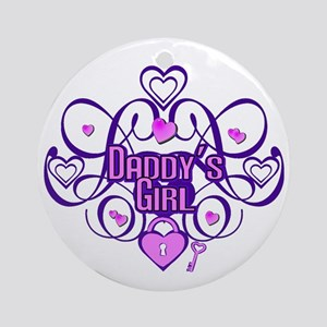 Daddy's Girl Purple/Pink Ornament (Round)