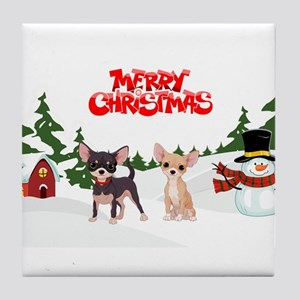 Merry Christmas Chihuahuas Tile Coaster