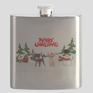 Merry Christmas Chihuahuas Flask