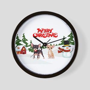 Merry Christmas Chihuahuas Wall Clock