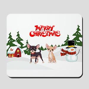 Merry Christmas Chihuahuas Mousepad