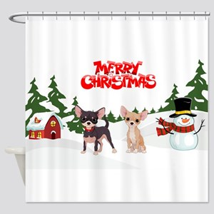 Merry Christmas Chihuahuas Shower Curtain