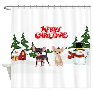 Chihuahua Christmas Shower Curtains