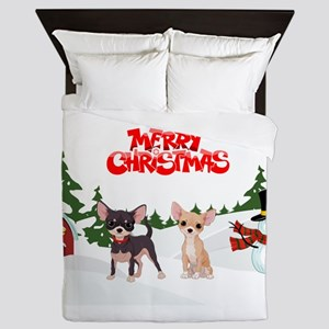 Merry Christmas Chihuahuas Queen Duvet