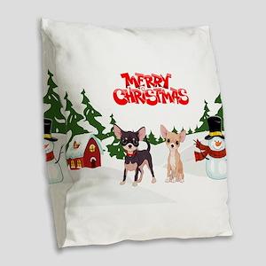 Merry Christmas Chihuahuas Burlap Throw Pillow