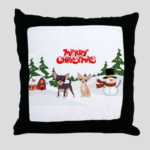 Merry Christmas Chihuahuas Throw Pillow