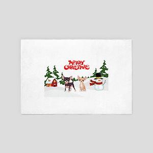 Merry Christmas Chihuahuas 4' x 6' Rug