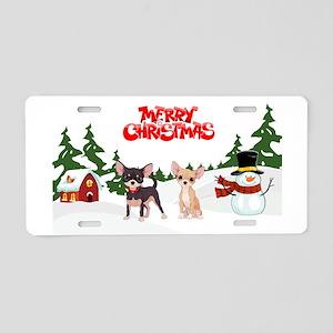 Merry Christmas Chihuahuas Aluminum License Plate