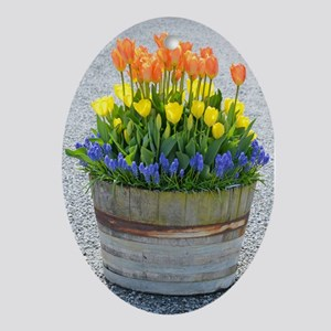 Spring tulips barrel planter Ornament (Oval)