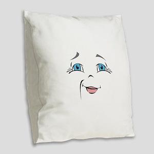 DOLL FACE 10 Burlap Throw Pillow