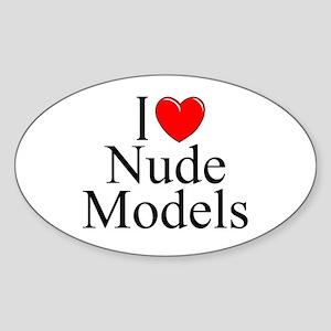 """""""I Love (Heart) Nude Models"""" Oval Sticker"""
