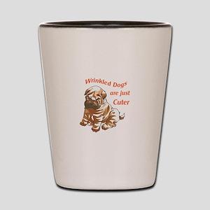 WRINKLED DOGS Shot Glass