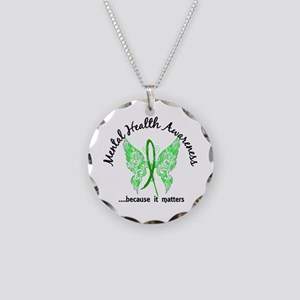 Mental Health Butterfly 6.1 Necklace Circle Charm