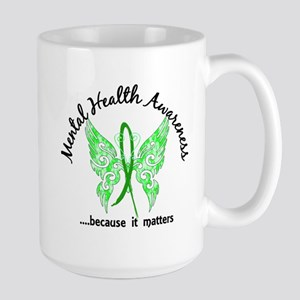 Mental Health Butterfly 6.1 Large Mug