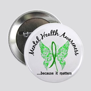 """Mental Health Butterfly 6.1 2.25"""" Button"""