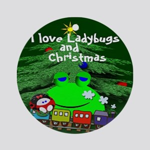 Frog Loves Christmas Round Ornament