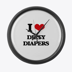 dirty diapers Large Wall Clock
