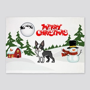Merry Christmas Boston Terrier 5'x7'Area Rug