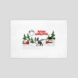 Merry Christmas Boston Terrier 4' x 6' Rug