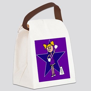 Purple and Blue cheerleader Canvas Lunch Bag