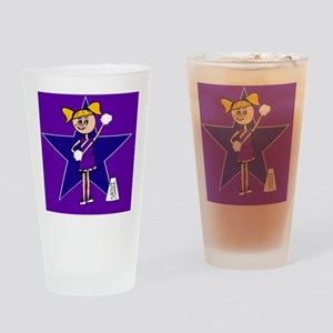 Purple and Blue cheerleader Drinking Glass