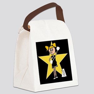 Yellow and Black cheerleader Canvas Lunch Bag