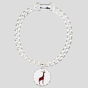Christmas Plaid Reindeer Charm Bracelet, One Charm
