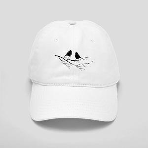 Two Little white Sparrow Birds Black silhouette Ha
