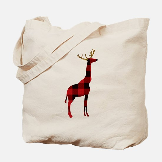 Christmas Plaid Reindeer Giraffe Tote Bag