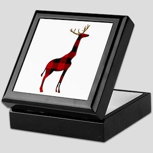Christmas Plaid Reindeer Giraffe Keepsake Box