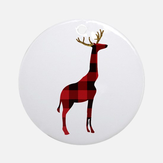 Christmas Plaid Reindeer Giraffe Round Ornament