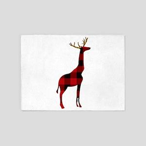 Christmas Plaid Reindeer Giraffe 5'x7'Area Rug