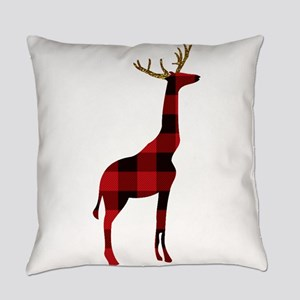 Christmas Plaid Reindeer Giraffe Everyday Pillow