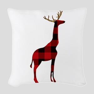 Christmas Plaid Reindeer Giraf Woven Throw Pillow