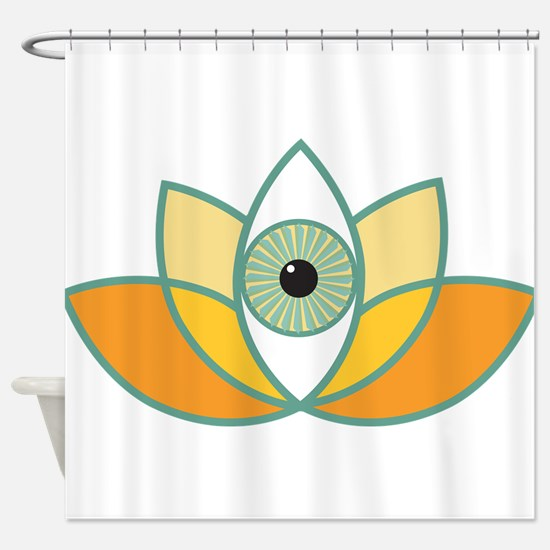 shamanistic 3rd eye lotus Shower Curtain