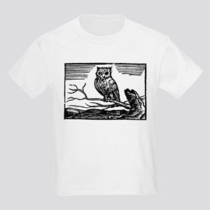 Medieval Woodcut Owl on Branch T-Shirt