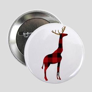 """Christmas Plaid Reindeer Giraffe 2.25"""" Button"""
